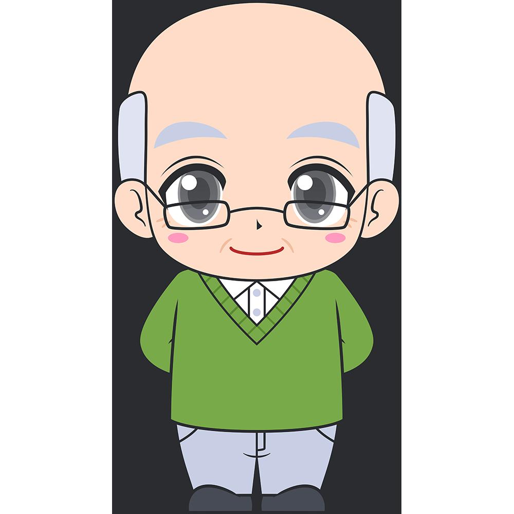 老眼鏡をかけたおじいさんのイラスト【無料・フリー】