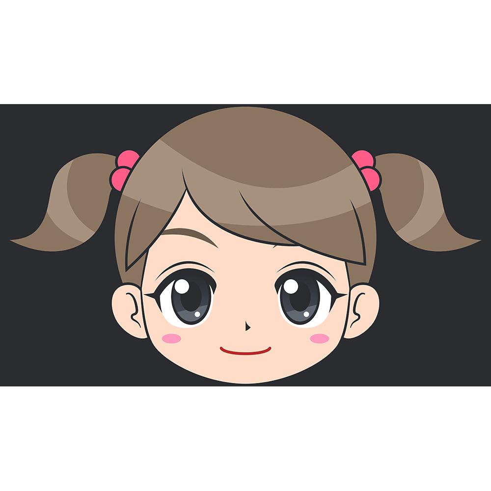 女の子(子供)の顔イラスト【無料・フリー】