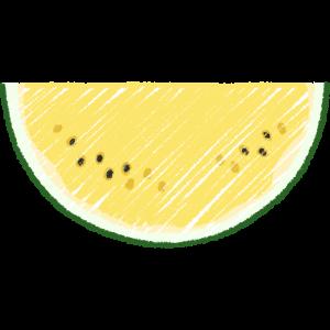 1/8の黄色いスイカ(果物)の手書きイラスト