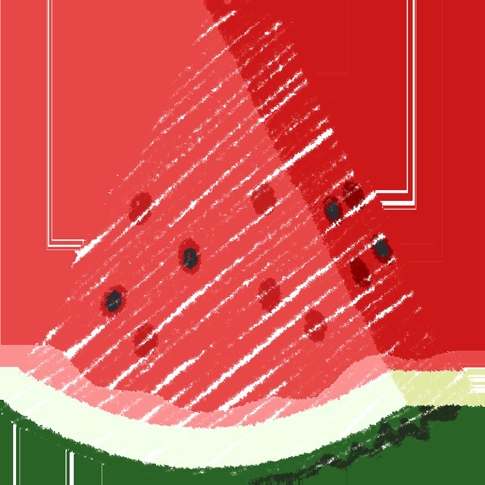 カットしたスイカ(果物)の手書きイラスト【無料・フリー】
