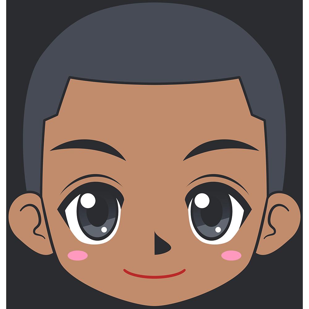 若い黒人男性の顔イラスト【無料・フリー】