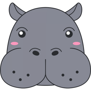 カバの顔イラスト【無料・フリー】