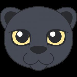 クロヒョウ(黒豹)の顔イラスト【無料・フリー】