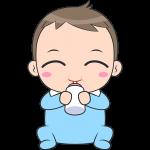 ミルクを飲む赤ちゃんのイラスト【無料・フリー】