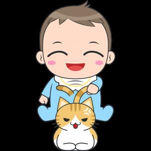 猫と遊ぶ赤ちゃん