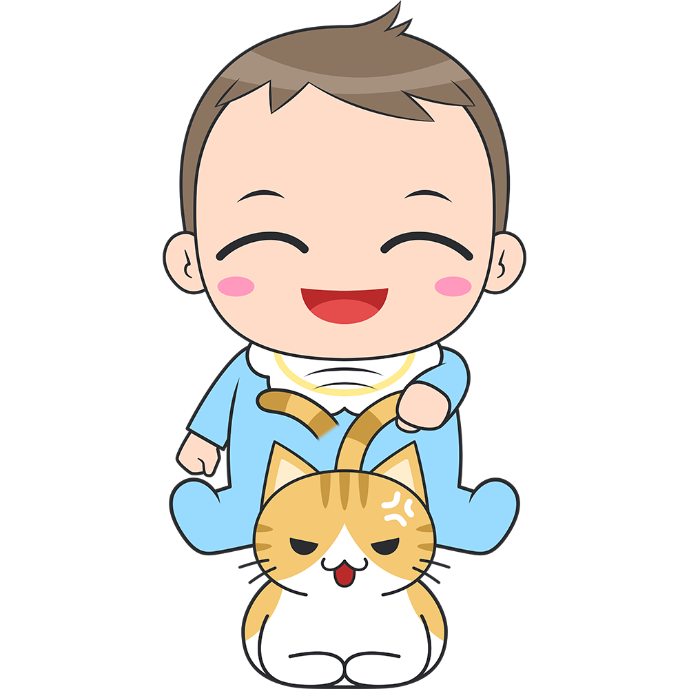 猫と遊ぶ赤ちゃんのイラスト【無料・フリー】