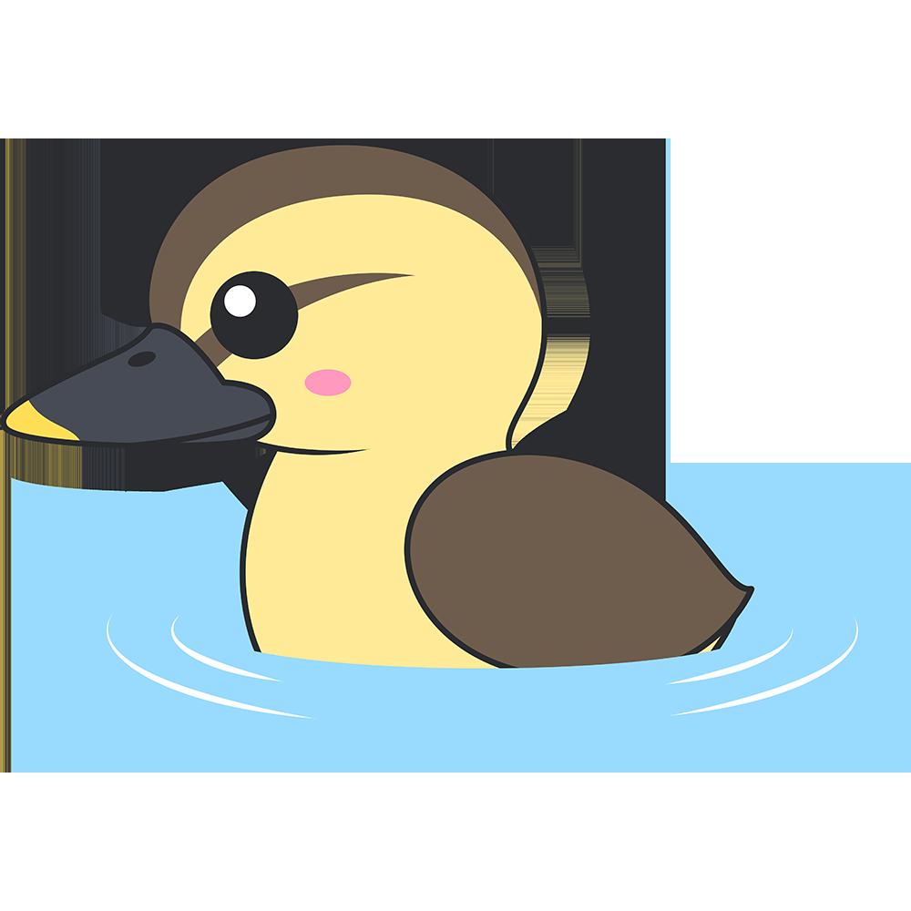 水面を泳ぐカルガモのヒナのイラスト【無料・フリー】