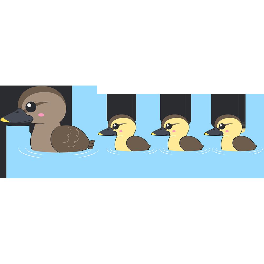 水面を泳ぐカルガモの親子のイラスト【無料・フリー】