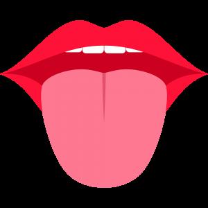 舌を出した口