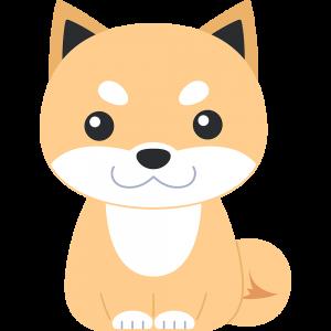 座る柴犬(茶色-3)のイラスト【無料・フリー】