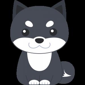 座る柴犬(黒-3)のイラスト【無料・フリー】