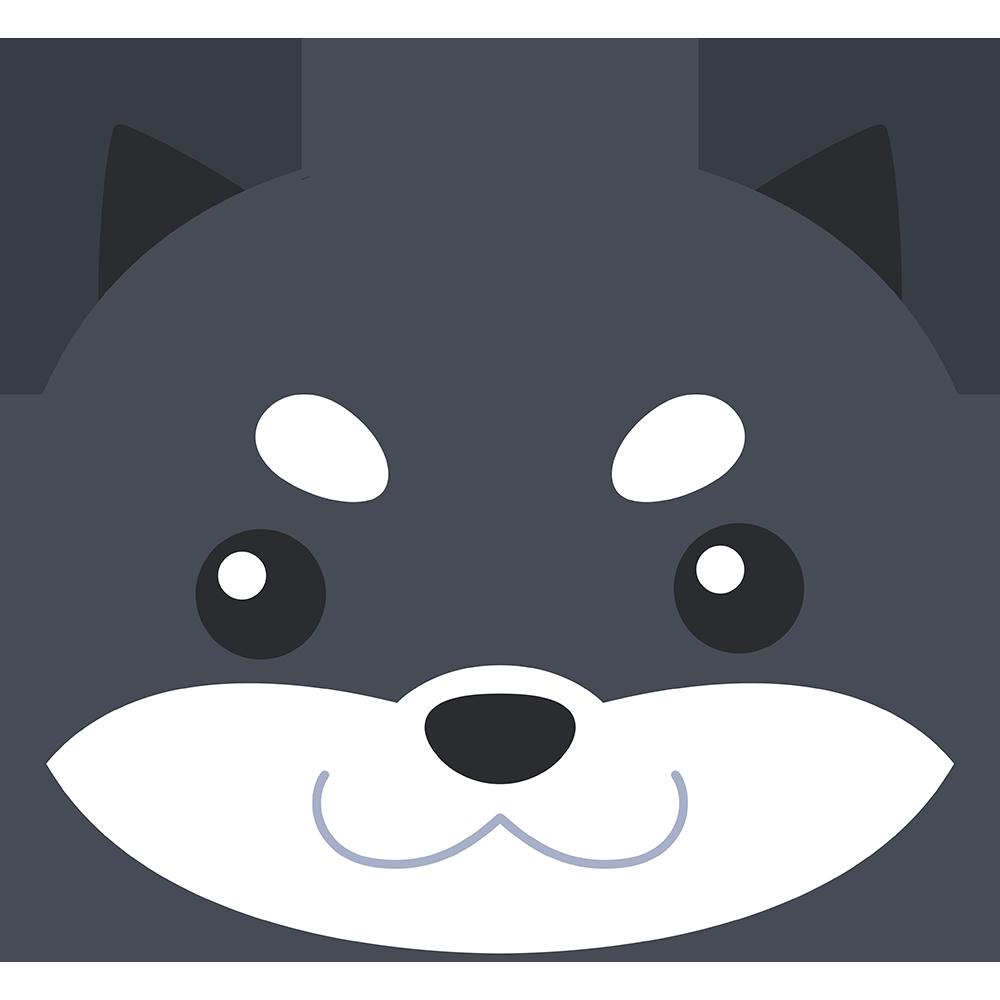柴犬の顔(黒-3)イラスト【無料・フリー】