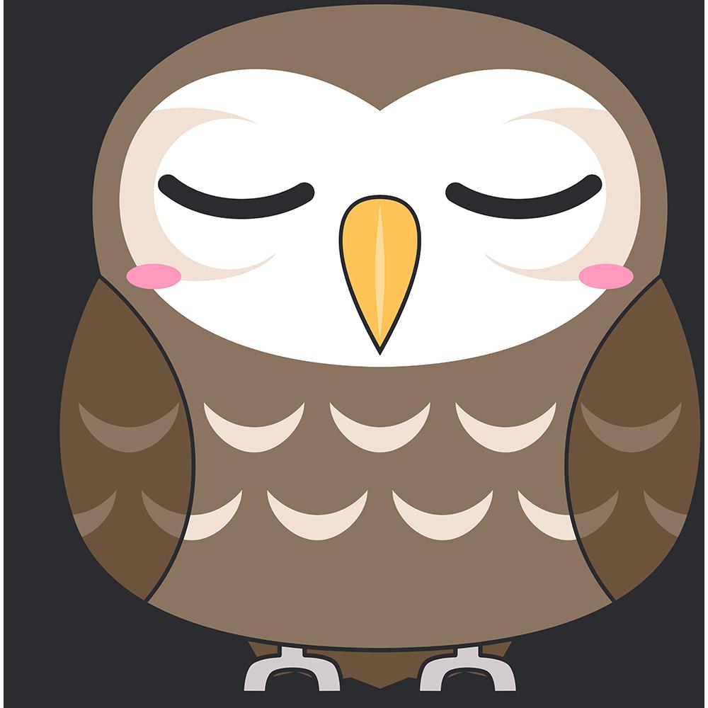 寝ているコキンメフクロウ(鳥)のイラスト【無料・フリー】