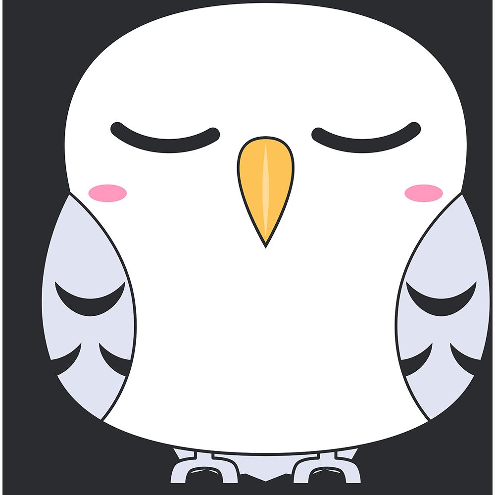 寝ているシロフクロウ(鳥)のイラスト【無料・フリー】