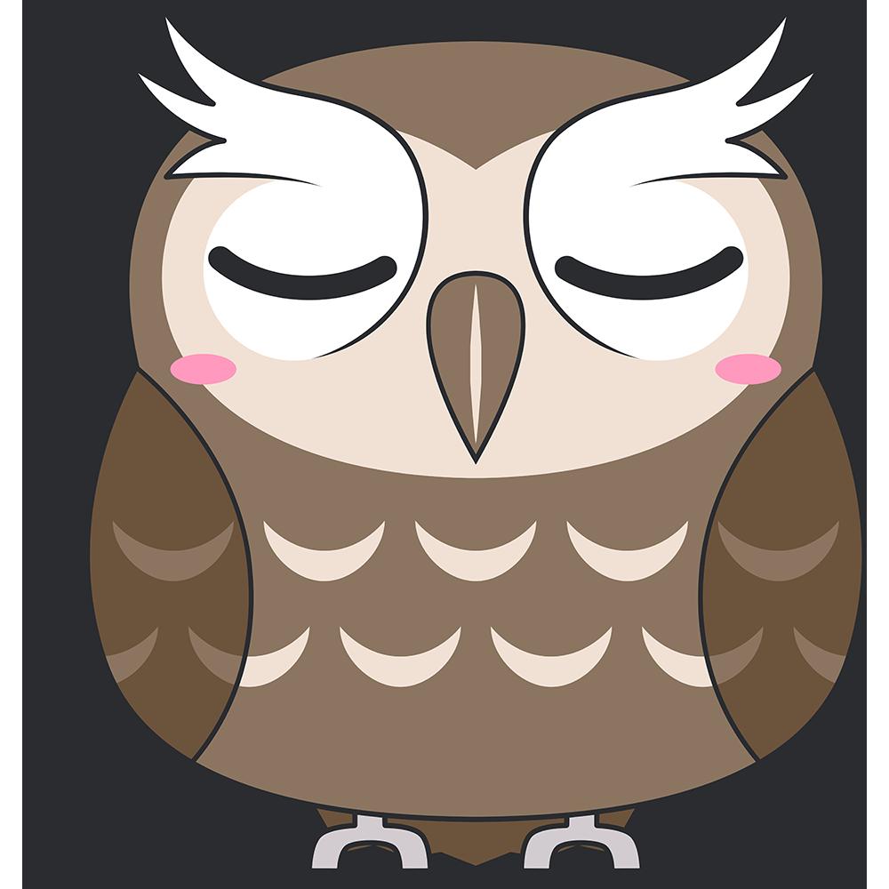 寝ているスピックスコノハズク(鳥)のイラスト【無料・フリー】