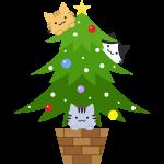 クリスマスツリーで遊ぶ猫のイラスト【無料・フリー】