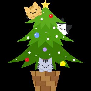 クリスマスツリーで遊ぶ猫のイラスト無料フリー