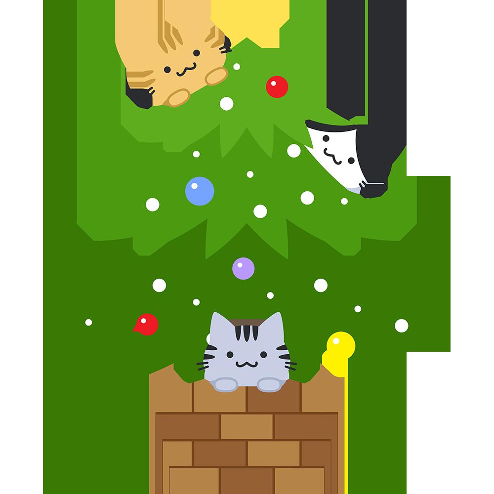 クリスマスツリーで遊ぶ猫