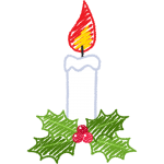 クリスマスキャンドル・ろうそくの手書きイラスト【無料・フリー】