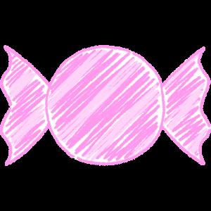 ピンクのキャンディ(飴)の手書きイラスト【無料・フリー】