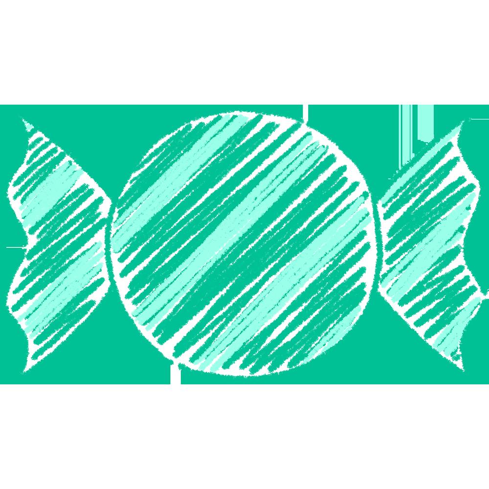 緑のキャンディ(飴)の手書きイラスト【無料・フリー】