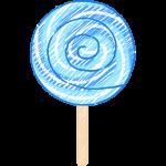 青い渦巻キャンディ(飴)の手書きイラスト【無料・フリー】