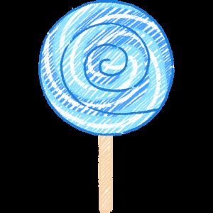 青い渦巻キャンディ飴の手書きイラスト無料フリー