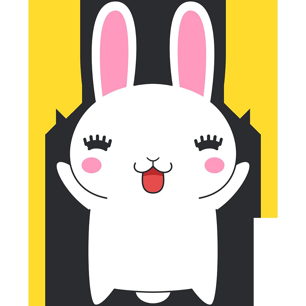 喜ぶウサギのイラスト(ラビ子)【無料・フリー】