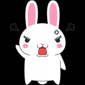 怒るウサギのラビ子のイラスト【無料・フリー】