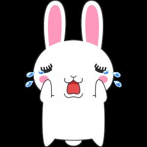 泣くウサギのラビ子のイラスト【無料・フリー】