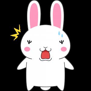 驚くウサギのイラスト(ラビ子)