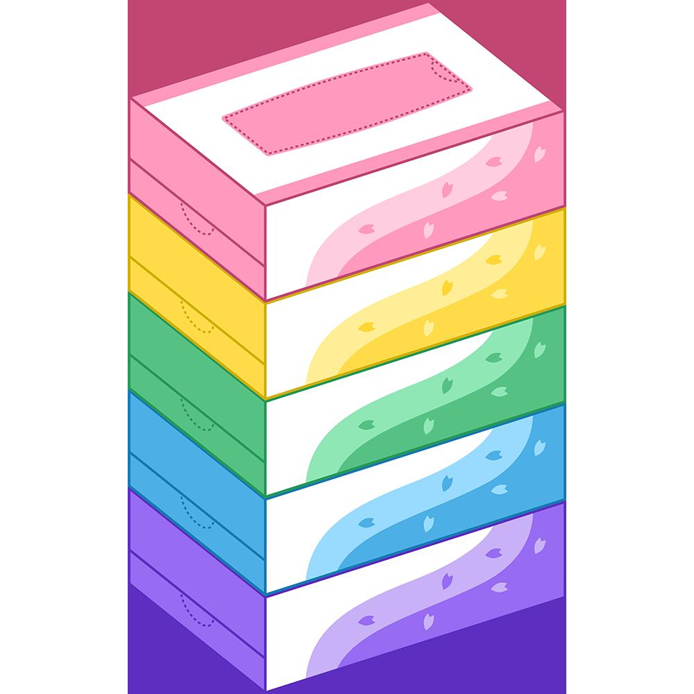 ティッシュペーパー5箱セットのイラスト【無料・フリー】