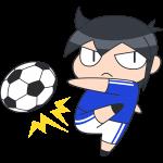 サッカー:シュートをする選手のイラスト【無料・フリー】