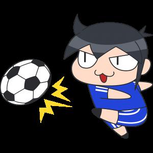 強烈なシュートをするサッカー選手のイラスト【無料・フリー】