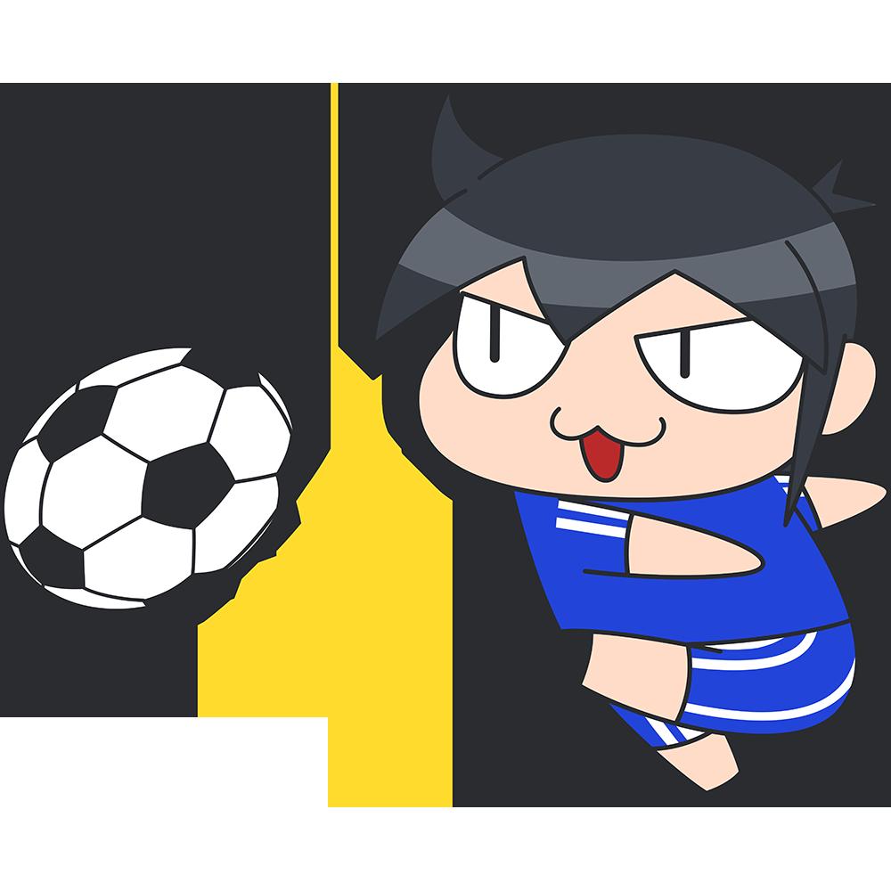 サッカー:強烈なシュートをする選手のイラスト【無料・フリー】