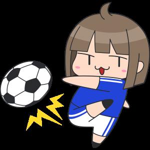 シュートをする女子サッカー選手のイラスト無料フリー