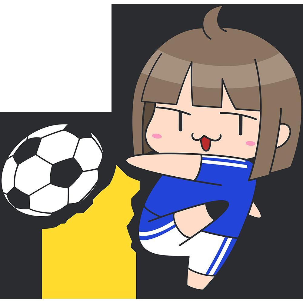 サッカー:シュートをする女子選手のイラスト【無料・フリー】