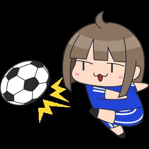 強烈なシュートをする女子サッカー選手のイラスト【無料・フリー】