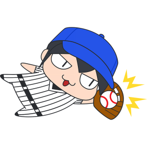 ダイビングキャッチをする野球選手のイラスト【無料・フリー】