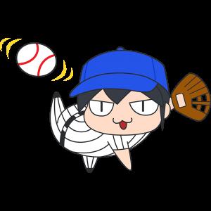 ボールを投げる野球選手のイラスト【無料・フリー】