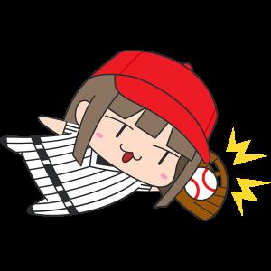 ダイビングキャッチをする女性野球選手のイラスト【無料・フリー】