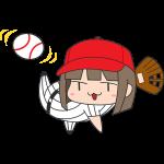野球:ボールを投げる女子選手のイラスト【無料・フリー】
