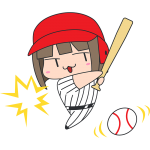 野球:ボールを打つ女子選手のイラスト【無料・フリー】