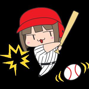 ボールを打つ女性野球選手