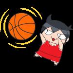 バスケ:シュートをする選手のイラスト【無料・フリー】
