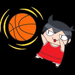 バスケットボール:シュートをする選手のイラスト【無料・フリー】