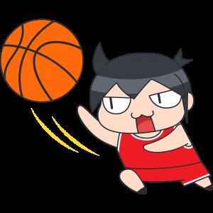 バスケットボール:レイアップシュートをする選手のイラスト【無料・フリー】