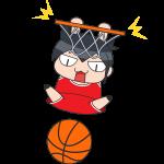 バスケ:ダンクシュートをする選手のイラスト【無料・フリー】