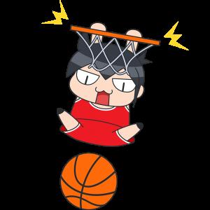バスケットボール:ダンクシュートをする選手のイラスト【無料・フリー】