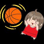 バスケ:シュートをする女子選手のイラスト【無料・フリー】